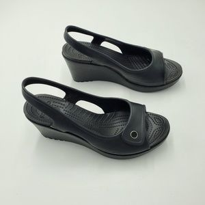 Crocs Slingback Wedges Black Heeled Open Toe Sz 9